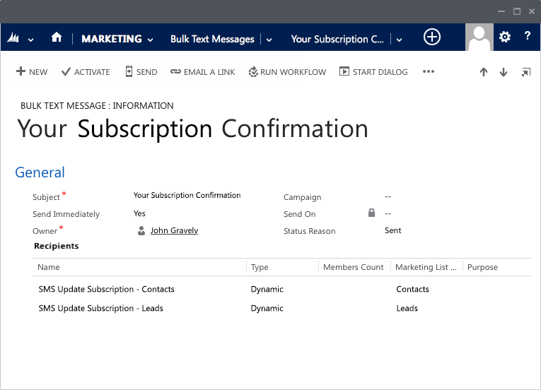 SMS marketing built right into Dynamics 365 CRM
